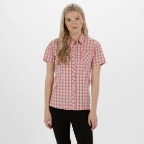 Women's Honshu II Checked Shirt Neon Peach