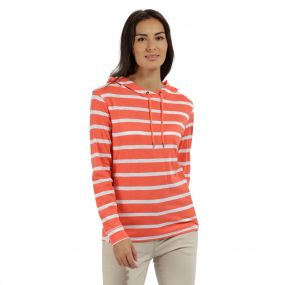 Modesta Hooded Coolweave Cotton Top Neon Peach