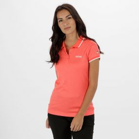Women's Remex Poloyester Polo Shirt Fiery Coral