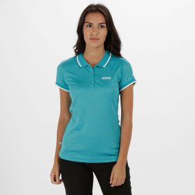 Women's Remex Poloyester Polo Shirt Aqua