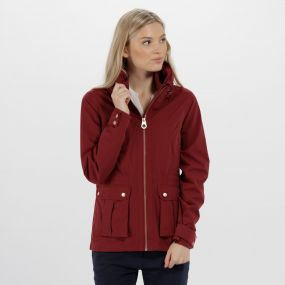 Nardia II Lightweight Waterproof Jacket with Concealed Hood Black Cherry