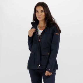 Landelina Lightweight Waterproof Jacket Navy