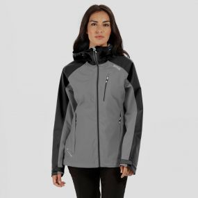 Women's Birchdale Waterproof Hooded Jacket Seal Grey Black
