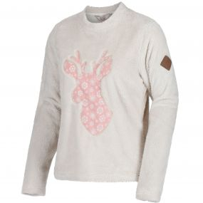 Women's Caro Crew Neck Christmas Sweater Light Vanilla