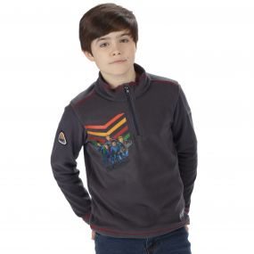 Thunderbirds Are Go Kids Crosscut Half Zip Fleece Seal Grey