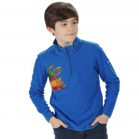 Thunderbirds Are Go Kids Crosscut Half Zip Printed Fleece Oxford Blue