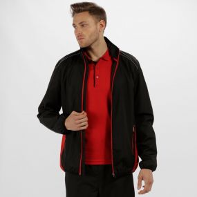 Men's Athens Tracksuit Jacket Black Classic Red