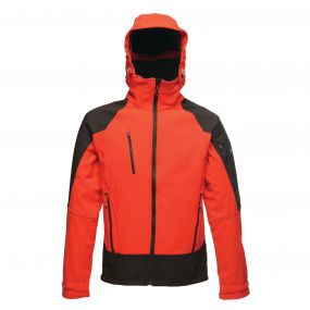Powergrid 3 Layer Hooded Softshell Pepper Red Black