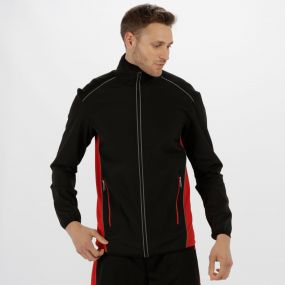 Men's Sochi Reflective Softshell Jacket Black Classic Red