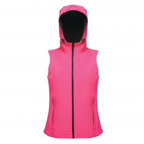 Women's Arley Hooded Softshell Bodywarmer Hot Pink Black
