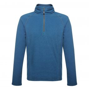 Parkline Half Zip Mini Stripe Micro Fleece Oxford Blue