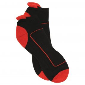 Adults Low Cut Sport Socks Black Classic Red