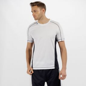 Men's Beijing Lightweight Cool and Dry Sports T-Shirt White/Navy