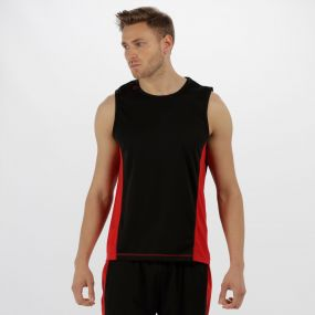 Men's Rio Lightweight Cool and Dry Sports Vest Black Classic Red