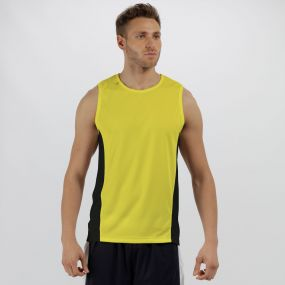 Men's Rio Lightweight Cool and Dry Sports Vest Lime Zest Black