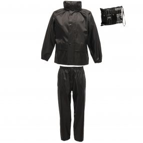 Kids 2 Piece Rain Suit Black