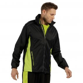 Men's Moscow Waterproof Shell Jacket Black Lime Zest