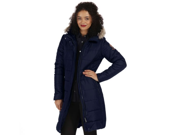 Fermina Long Length Quilted Puffer Parka Jacket Navy | Regatta ...