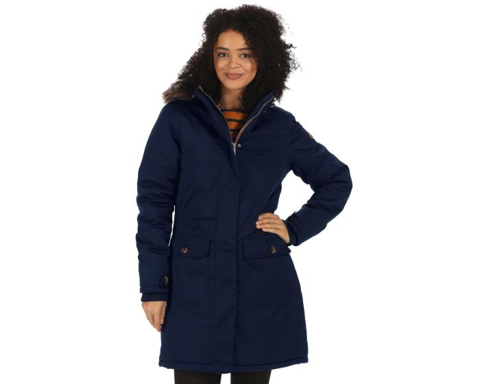 Saphie Breathable Waterproof Insulated Textured Parka Jacket Navy ...